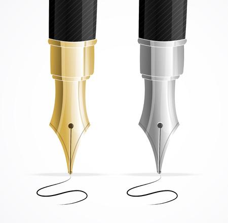 万年筆と分離された署名のクローズ アップ ベクトルします。  イラスト・ベクター素材