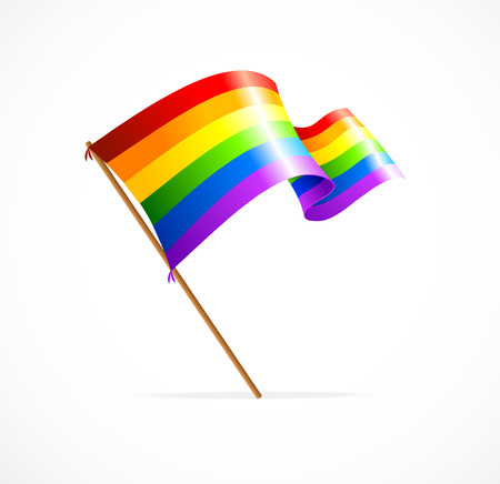 flag vector: Vector a rainbow flag waving on white