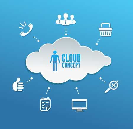 investigate: Vector cloud computing network infographic. Blue background