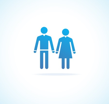 Woman and man icons blue icolated on white Vector