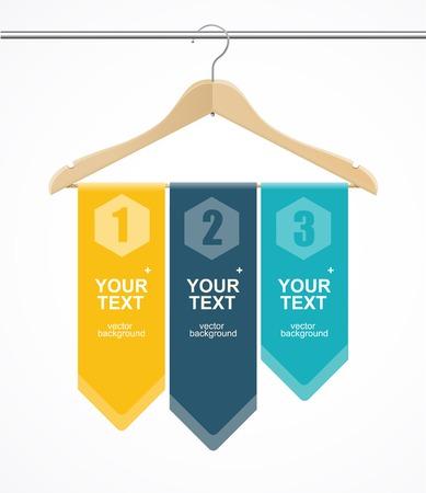 shirt hanger: Coat hanger wood like text headers. 1,2,3 concept.