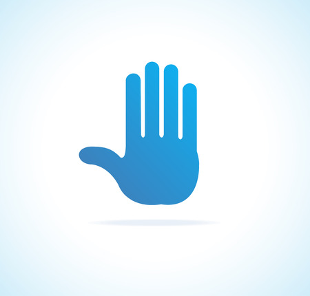 Hand vector, stop icon blue on white Vector