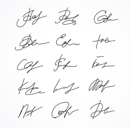 official record: Vector Signature fictitious Autograph on white background
