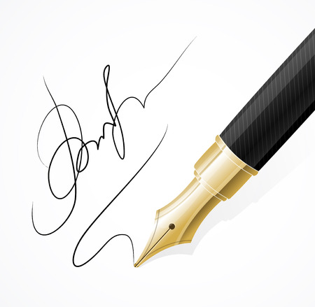 writing instrument: Vector Close up of a fountain pen and signature isolated