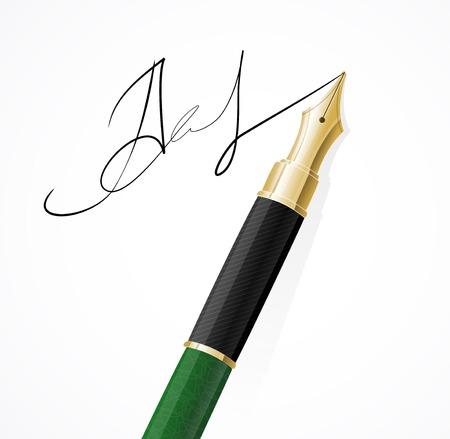 signing papers: Vector Close up of a fountain pen and signature isolated