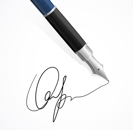 signing document: Vector Close up of a fountain pen and signature isolated