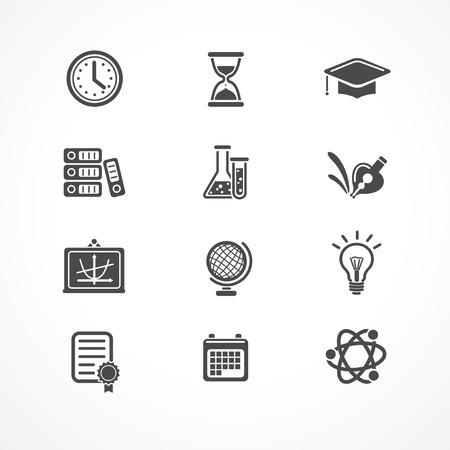 experimento: Iconos de la educación del vector fijadas. Negro sobre blanco