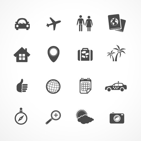 Vector Travel icons set. Black icons on white