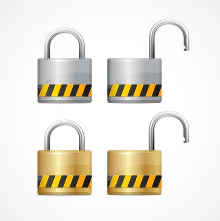 unlocked: Vector locked and unlocked padlock set isolated