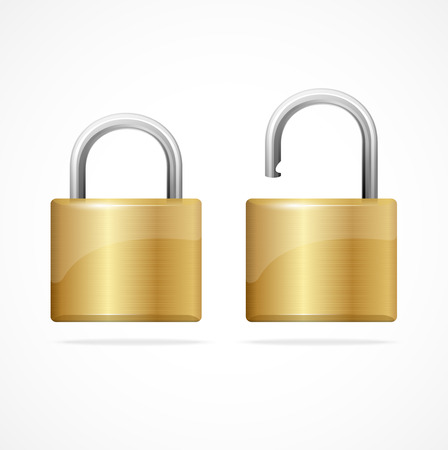 unbreakable: Vector locked and unlocked padlock gold isolated