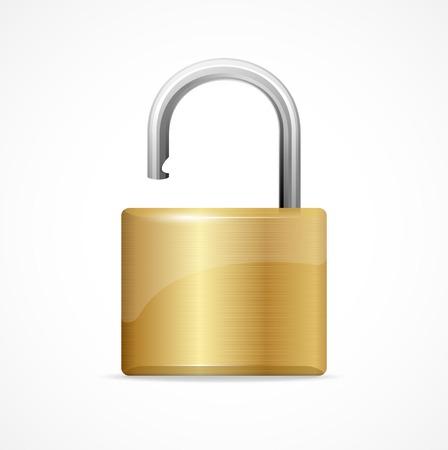 Vector unlocked padlock gold isolated on white Illustration