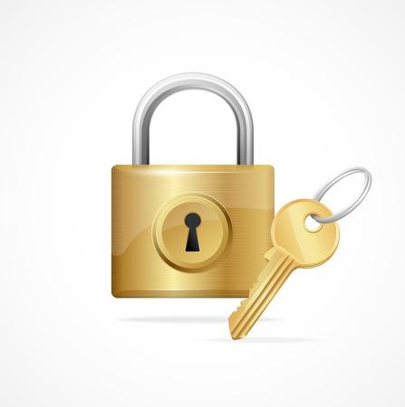 pad lock: Vector locked padlock gold isolated on white