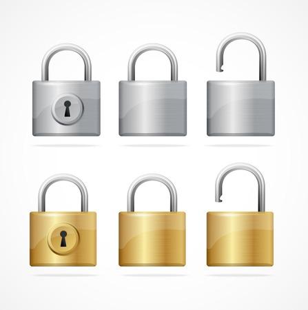 Vector locked and unlocked padlock set isolated
