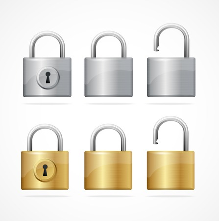 lock: Vector locked and unlocked padlock set isolated