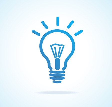 Vector Light bulb icon blue. Isolated on white Illustration