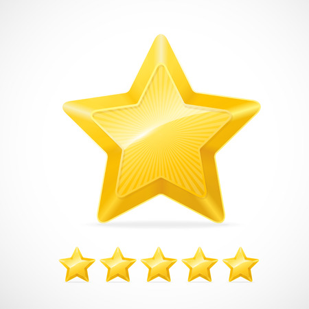 five star: Vector gold star and five stars set on white
