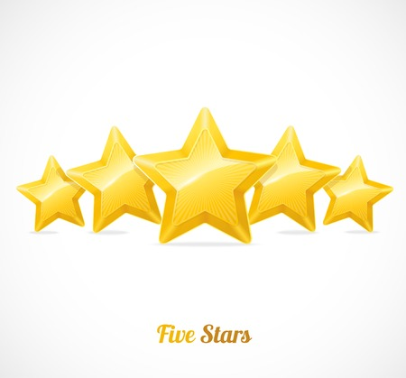 five stars: Vector star rating with five stars concept on white Illustration