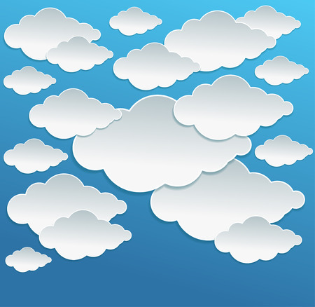 ร   ร   ร   ร  ร ยข  white clouds: Vector Cartoon white clouds on blue sky background