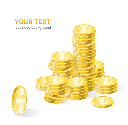 coins stack: Vector coins stack with text Illustration