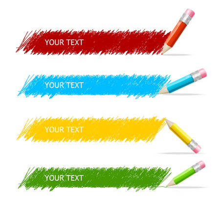 text box: Vector colorful text box and pencils