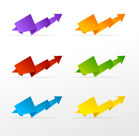 different ways: set of colorful arrow Illustration