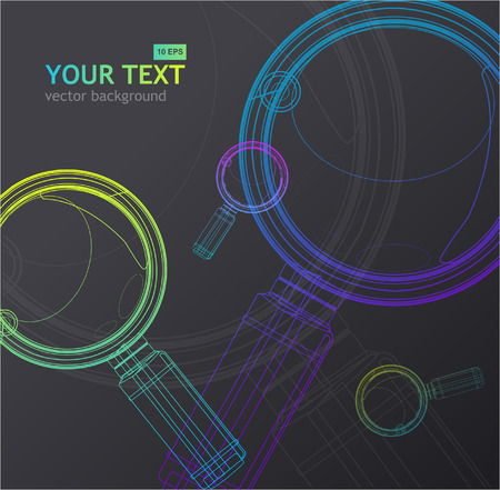 optical glass: Vector magnifying glass background