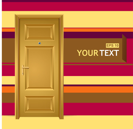 front gate: Vector yellow door in the wall for text