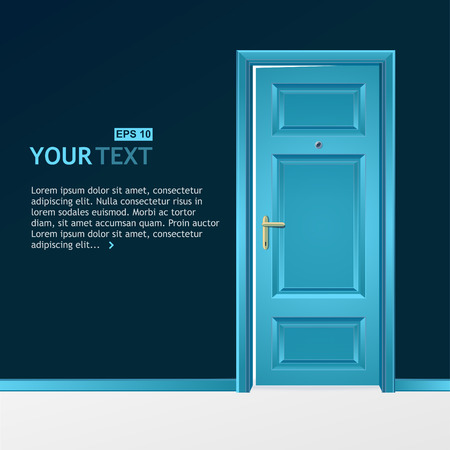 an open space: Vector blue door in the dark wall for text