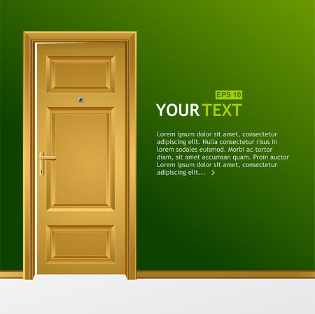 single entry: Vector yellow door in the green wall for text