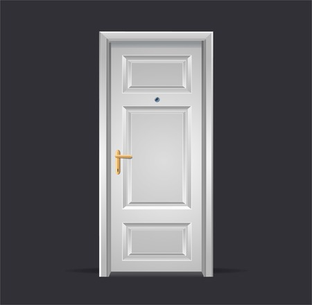 closed door: Vector Interior apartment white door isolated on black