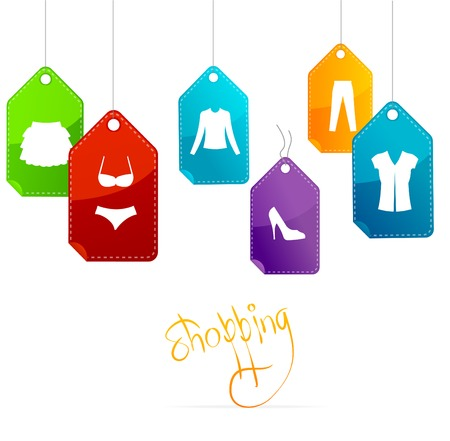 gift bags: Vector sale labels Illustration