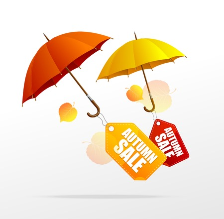 rainy season: Vector autumn sale labels with umbrellas