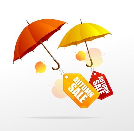 the rainy season: Vector autumn sale labels with umbrellas
