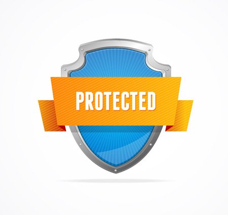 confidentiality: Protect shield on white background