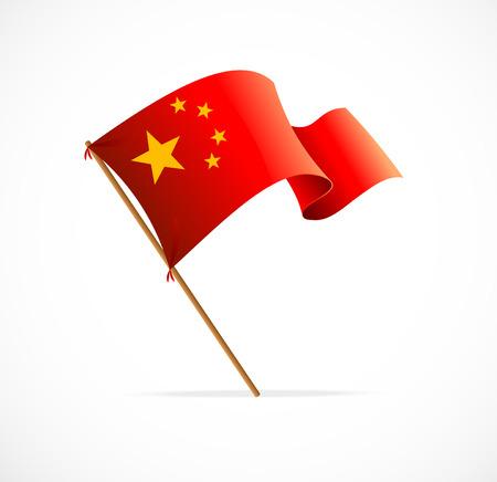 chinese flag: Flag of China illustration on white background