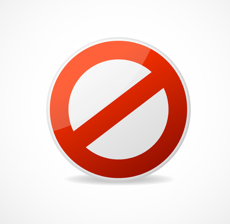 no signal: Vector Stop Sign Red isolated on white background