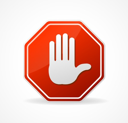 stop gesture: Vector Stop Sign Red isolated on white background