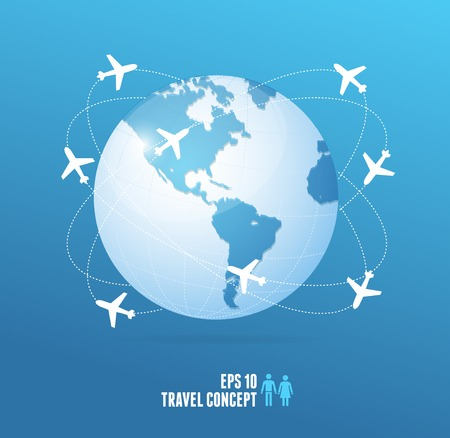 fly around: Airplanes flying around the globe. Vector travel concept