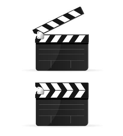 movie clapper: Film batacchio bordo impostato isolato Vettoriali