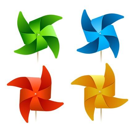 MOLINOS DE VIENTO: vector molinos de viento de colores