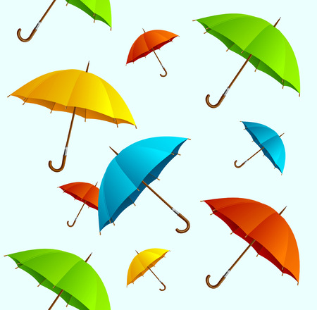 floating on water: Seamless pattern Vector colorful umbrellas flying