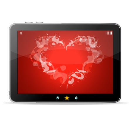 Black tablet  on white background ang heart on red Vector