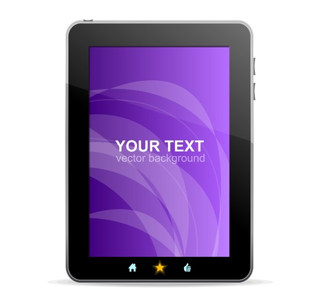 portability: Black tablet  on white background