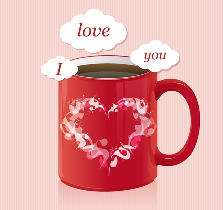 text area: Vector coffee cup with text area Valentines day card Illustration