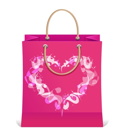 Vector paper shopping bag isolated and heart Vector