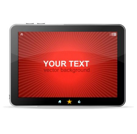 ebook reader: Black tablet on white background