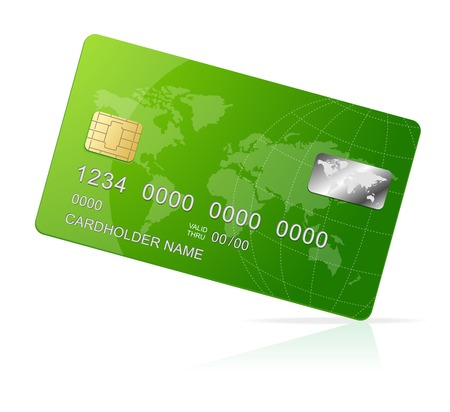 debit cards: Credit Card green icon Isolated on white
