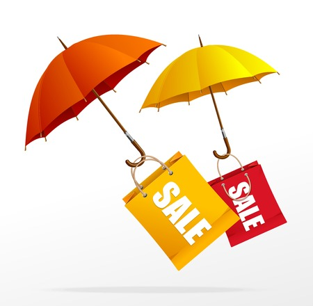 shield bug: Vector spring sale labels with umbrellas Illustration