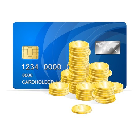 plastic card: Vector Plastic card and coins Illustration