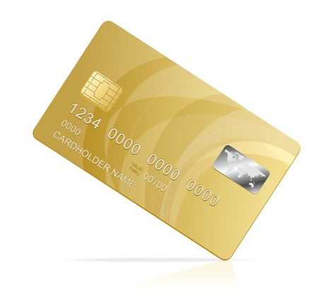credit card debt: Vector gold Credit Card isolated Illustration